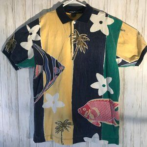 Nautical Medium Men's Hawaiian Shirt Polo fish